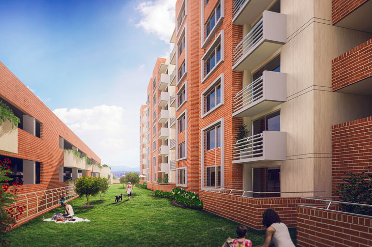 Apartments and green areas at Malaca Hacienda Santa Inés residential project in Ibague