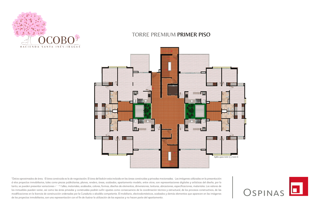 First floor plan of the premium tower at Ocobo Hacienda Santa Inés residential project in Ibague