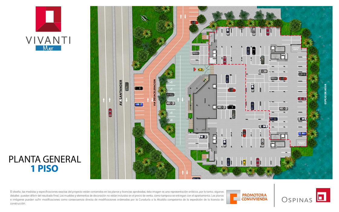 Floor plan 1 at general floor at Vivanti Mar residential project in Cartagena