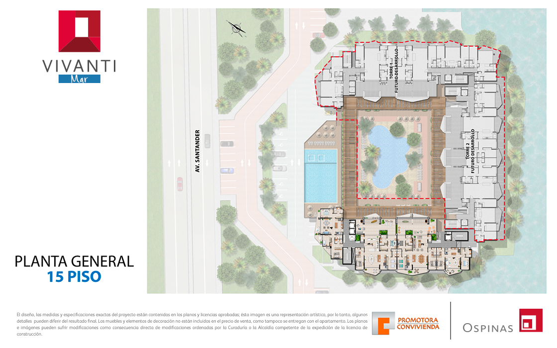 Floor plan 15 at general floor at Vivanti Mar residential project in Cartagena
