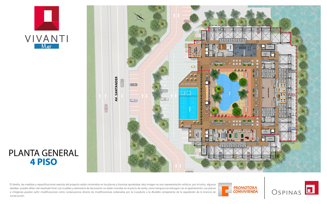 Floor plan 4 at general floor at Vivanti Mar residential project in Cartagena