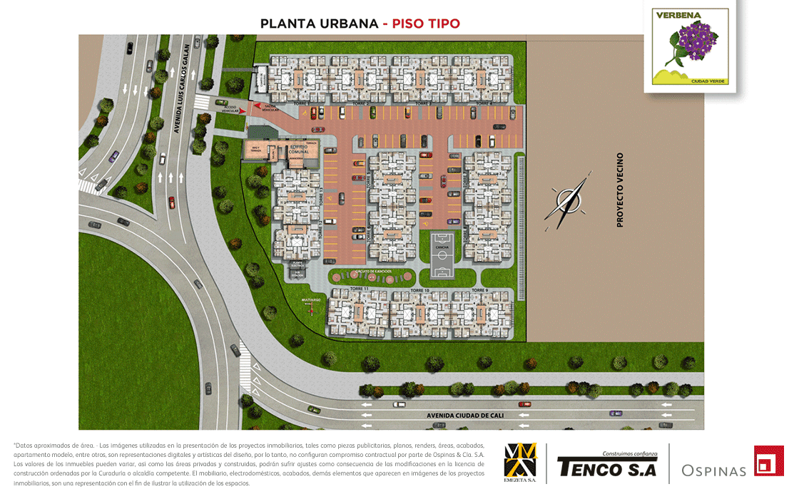 Floor plan type of the urban plant of the Verbena Ciudad Verde residential project in Soacha