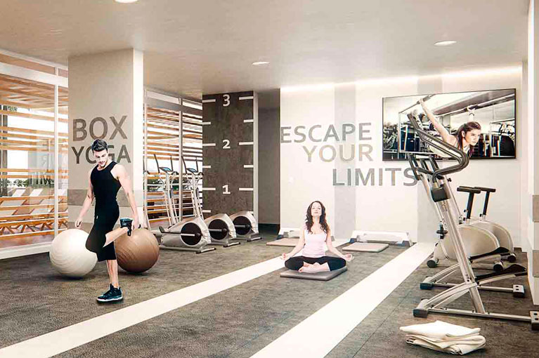 Gym, machines and weights for the Vivanti Mar residential project in Cartagena
