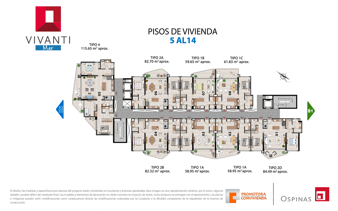 Plan 5th floor to the 14th floor at Vivanti Mar residential project in Cartagena
