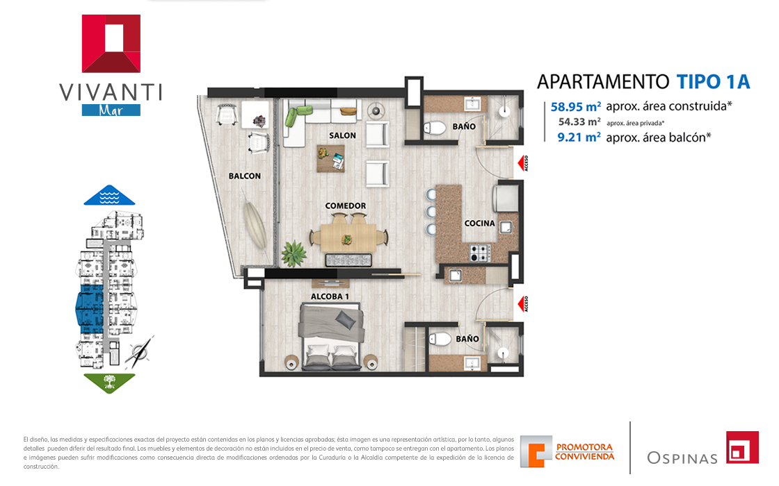 Plan apartment type 1A of 58m² at Vivanti Mar residential project in Cartagena