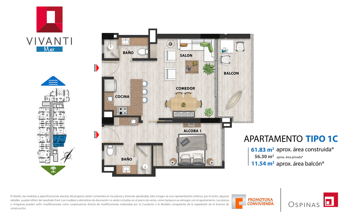 Plan apartment type 1C of 61m² at Vivanti Mar residential project in Cartagena