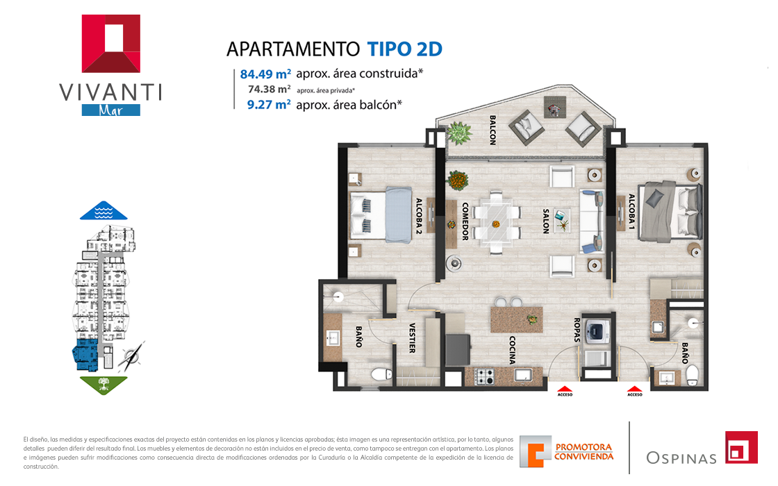 Plan apartment type 2D of 84m² at Vivanti Mar residential project in Cartagena