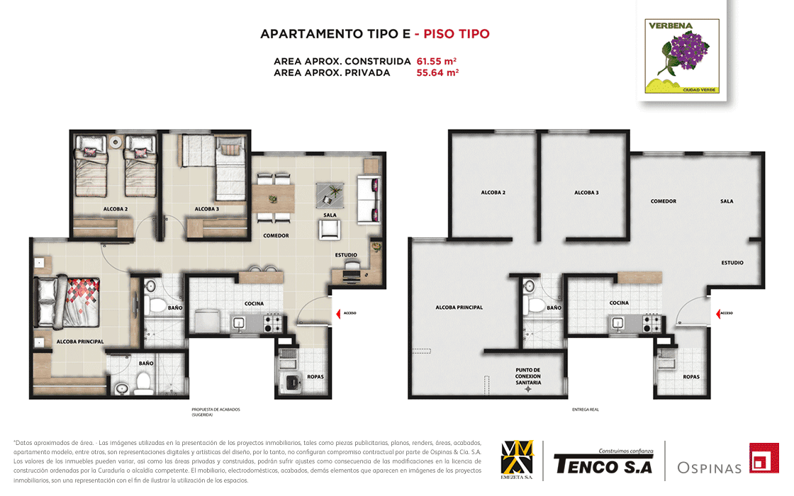 Plan apartment type E floor type of 61m² at Verbena Ciudad Verde residential project in Soacha