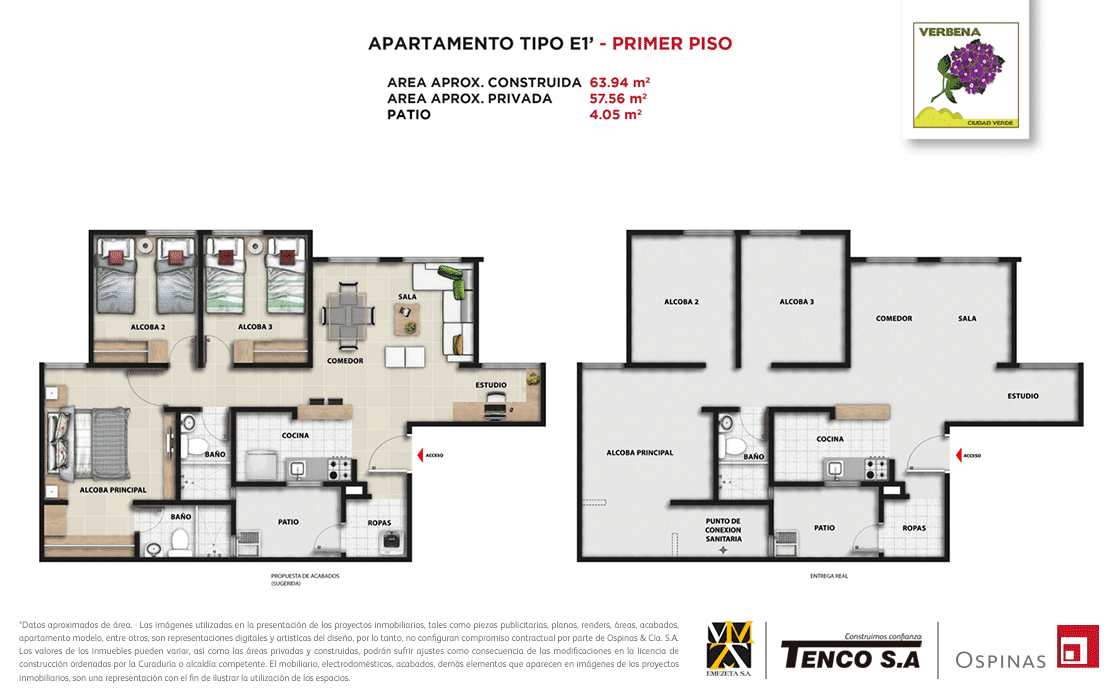 Plan apartment type E1 first floor of 63m² at Verbena Ciudad Verde residential project in Soacha