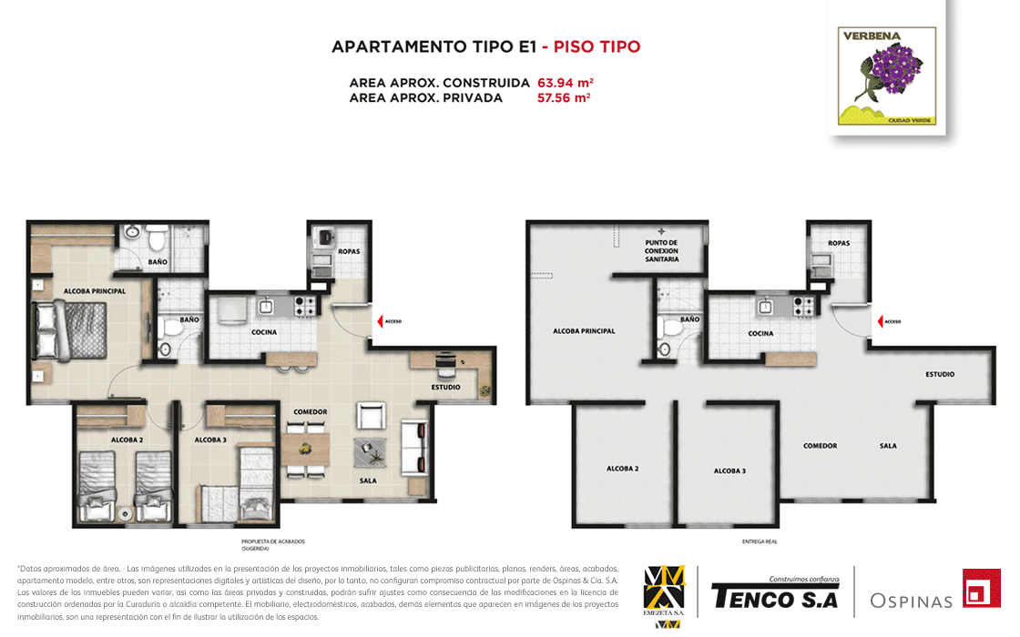 Plan apartment type E1 floor type of 63m² at Verbena Ciudad Verde residential project in Soacha