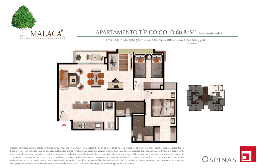 Plan gold typical apartment of 60m² at Malaca Hacienda Santa Inés residential project in Ibague