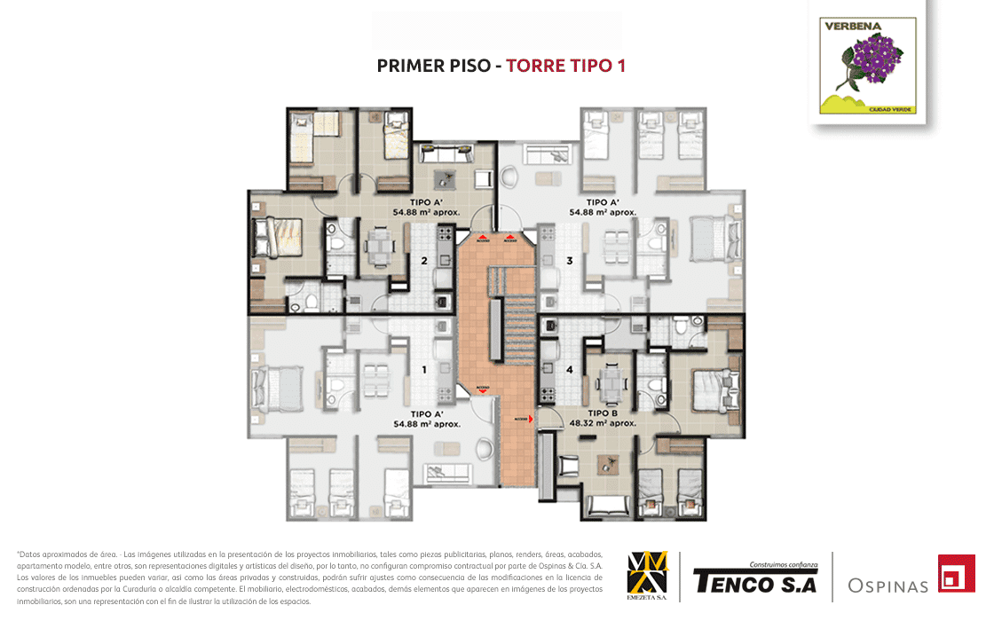 Plan of the first floor of tower 1 at Verbena Ciudad Verde residential project in Soacha