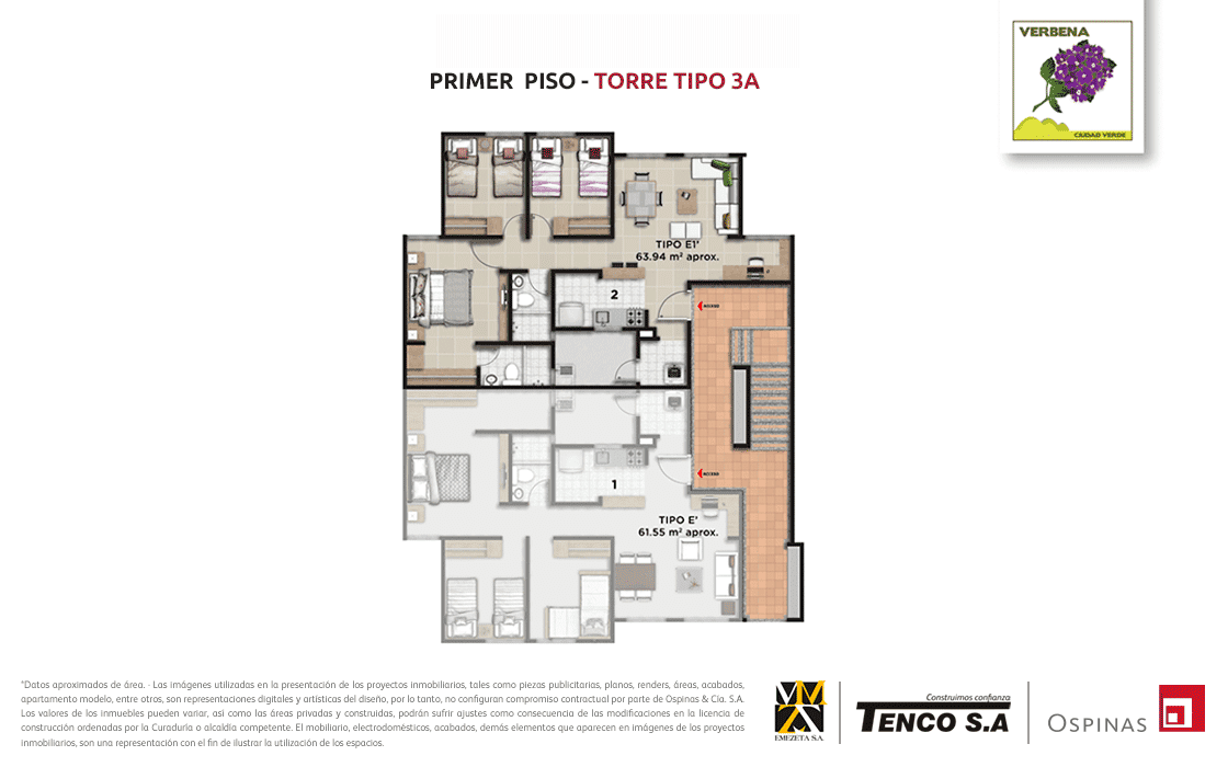 Plan of the first floor of tower 3a at Verbena Ciudad Verde residential project in Soacha