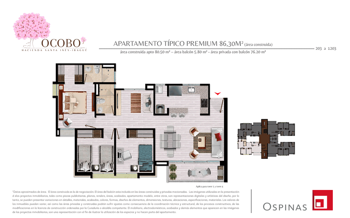 Plan typical platinum apartment of 86m² at Ocobo Hacienda Santa Inés in Ibague