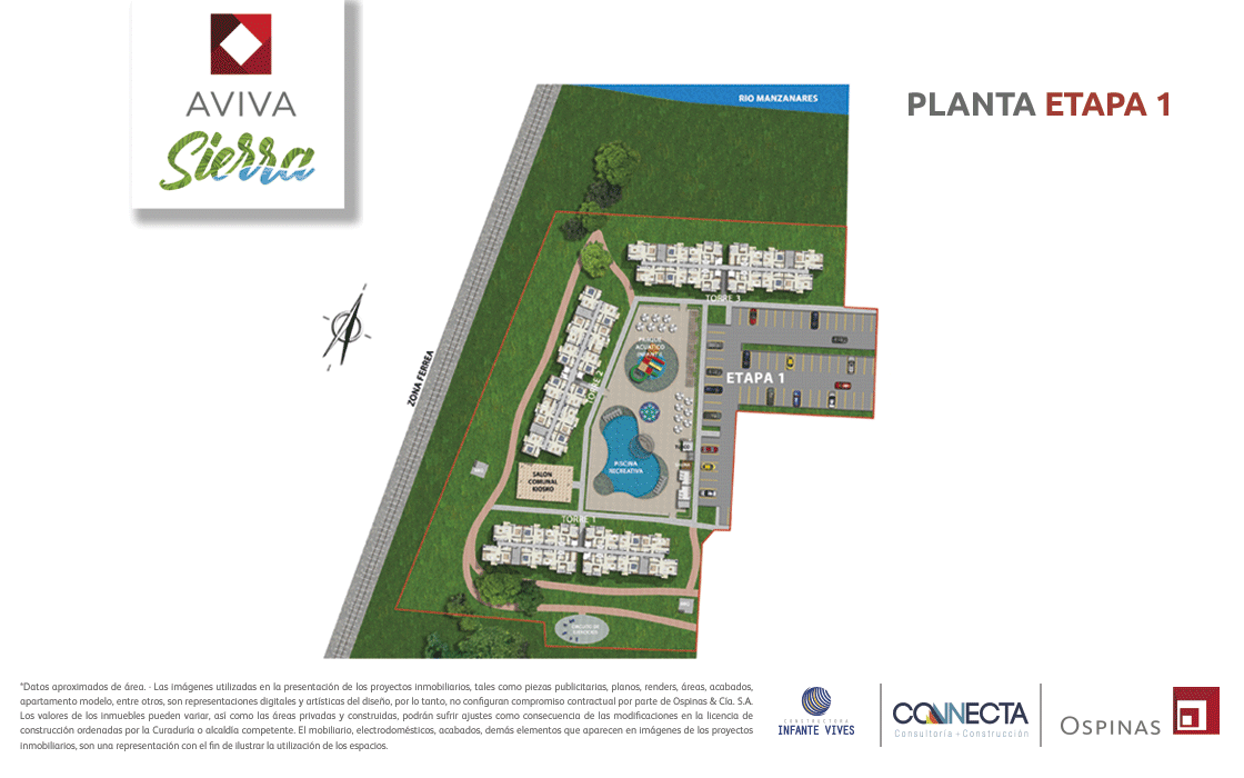 Floor plan stage 1 railway zone in Aviva Sierra housing project in Santa Marta