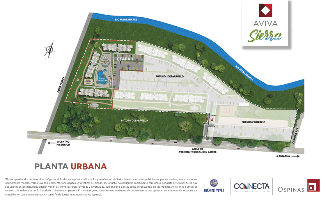 Urban floor plans Avenida Troncal del Caribe of the Aviva Sierra housing project in Santa Marta