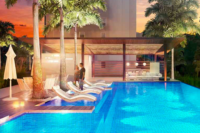 Swimming pool for adults at Ocobo Hacienda Santa Inés residential project in Ibague