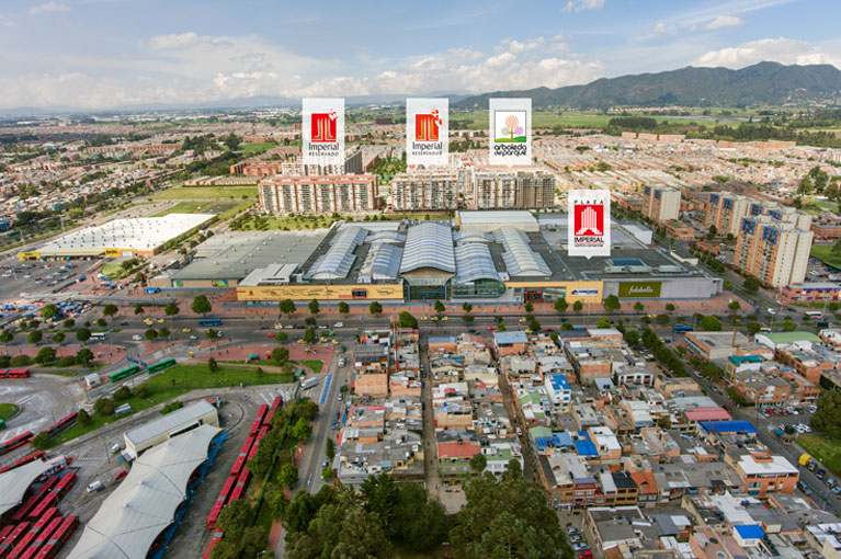 Aerial shot towers of the Arboleda del Parque residential project in Bogota