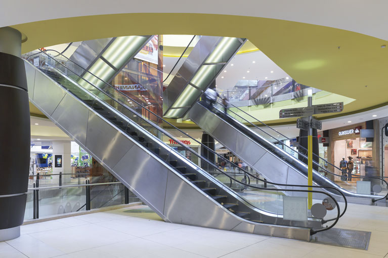 Electric stairs at Titán Plaza Shopping Center commercial project in Bogota