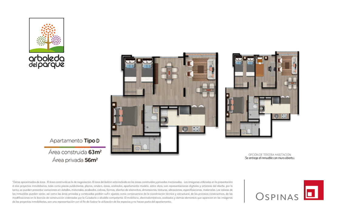 Plan apartment type D of 63m² in Arboleda del Parque residential project in Bogota