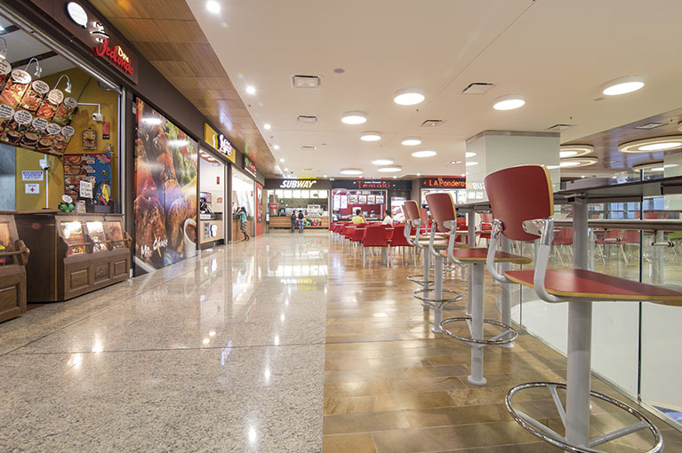 Food court at Plaza Bocagrande Shopping Center commercial project in Cartagena