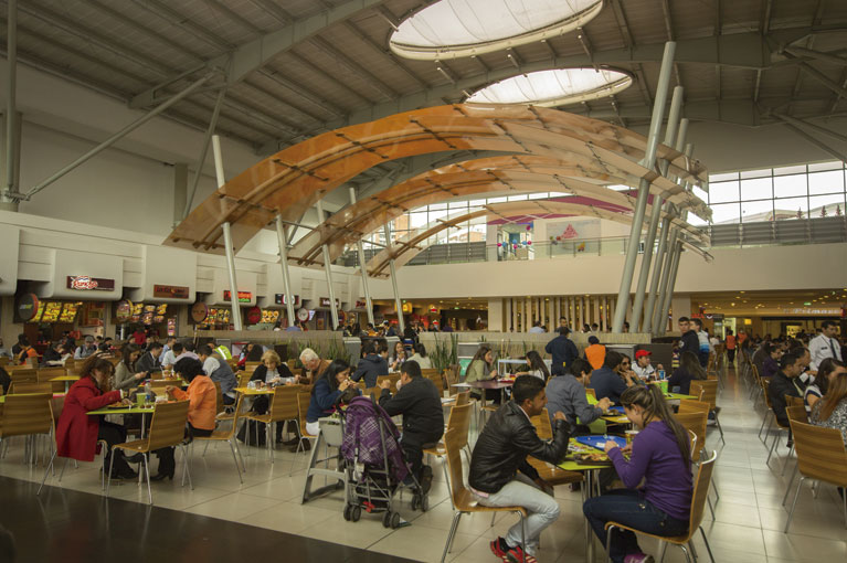 Food court at Titán Plaza Shopping Center commercial project in Bogota