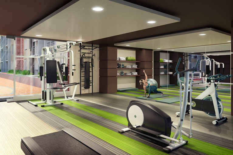 Gym machines and weights for the Arboleda del Parque residential project in Bogota