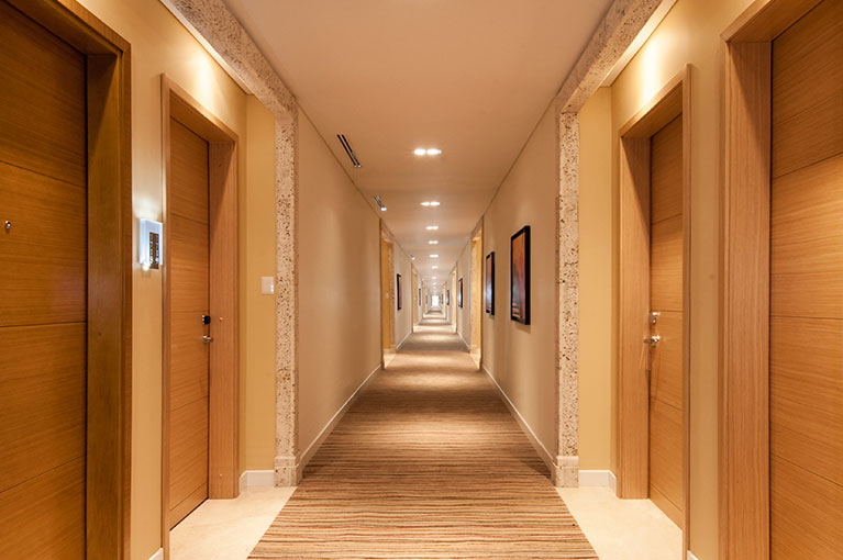 Hallway between apartments at Hyatt Regency Cartagena residential project
