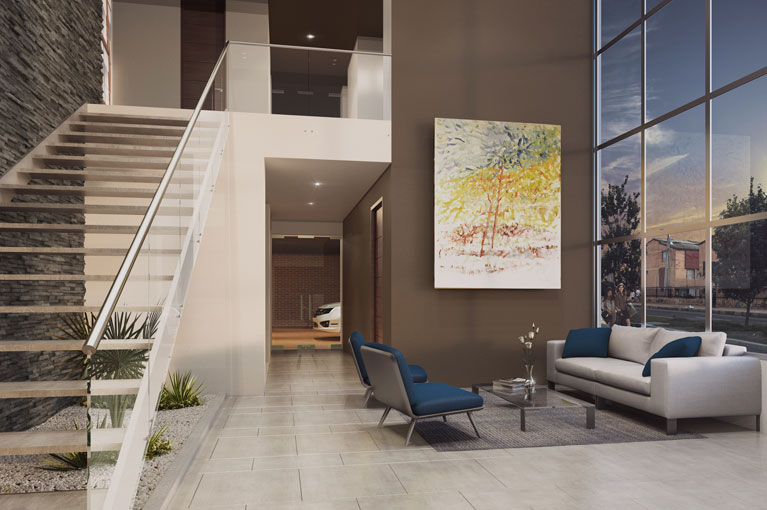 Living room of the apartment tower of the Arboleda del Parque residential project in Bogota