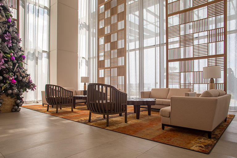 Lobby social lounge at Hyatt Regency Cartagena residential project