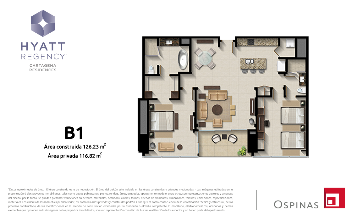 Plan apartment type B1 of 126m² at Hyatt Regency Cartagena residential project