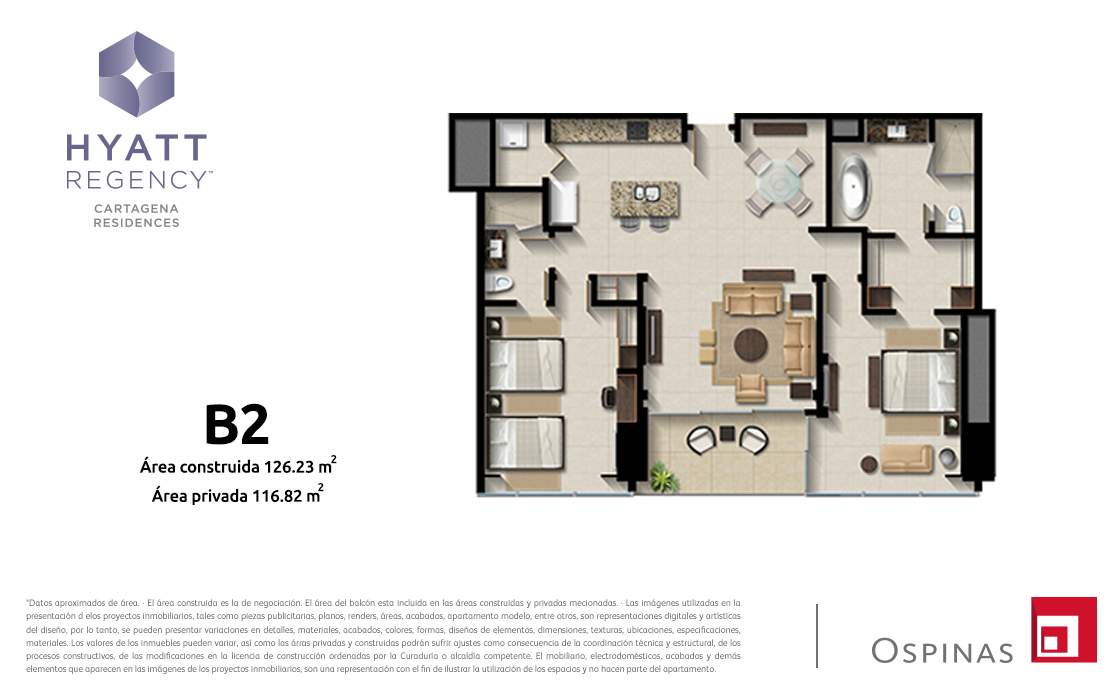 Plan apartment type B2 of 121m² at Hyatt Regency Cartagena residential project