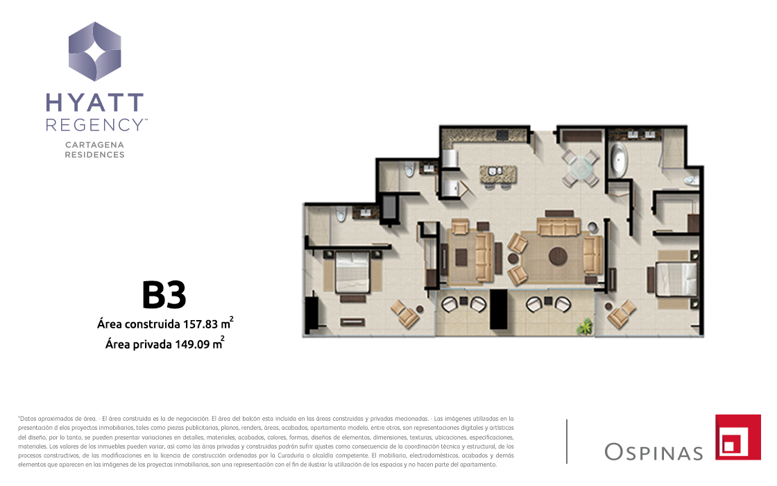 Plan apartment type B3 of 157m² at Hyatt Regency Cartagena residential project