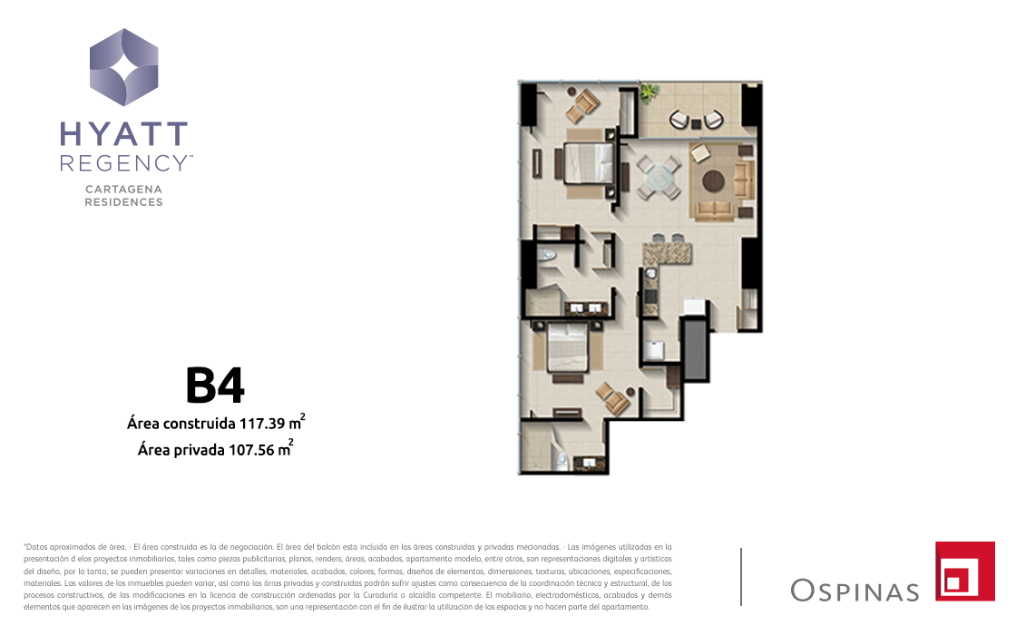 Plan apartment type B4 of 117m² at Hyatt Regency Cartagena residential project