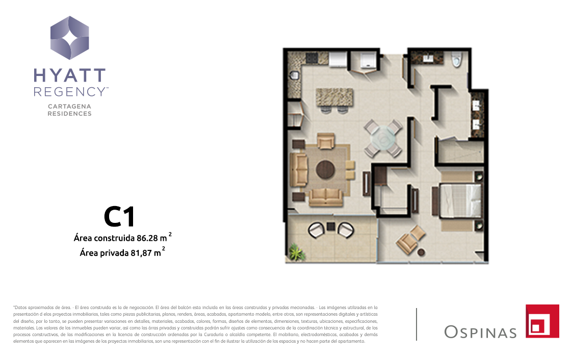 Plan apartment type C1 of 86m² at Hyatt Regency Cartagena residential project