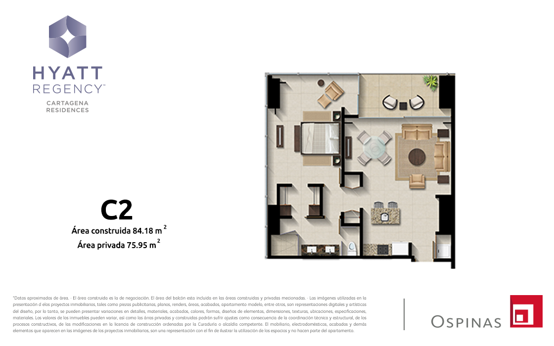 Plan apartment type C2 of 84m² at Hyatt Regency Cartagena residential project