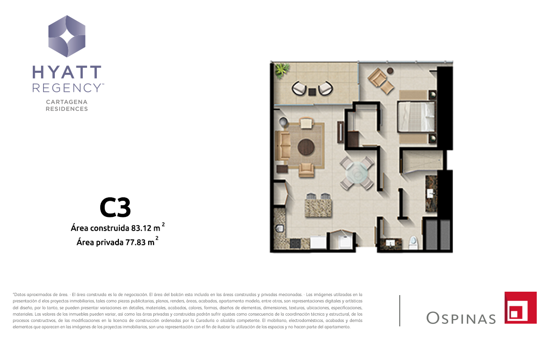 Plan apartment type C3 of 83m² at Hyatt Regency Cartagena residential project