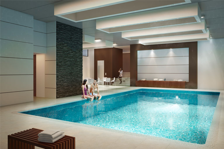 Pool and wet areas Arboleda del Parque residential project in Bogota