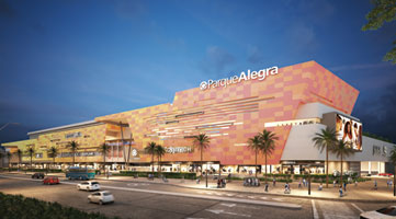 Facade project under construction Alegra Barranquilla shopping center