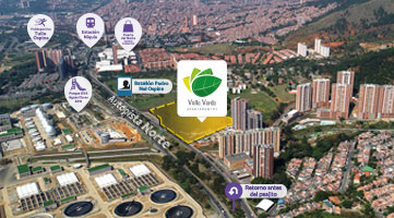 Strategic location of the Valle Verde residential project in Bello